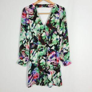 Parker Lila Night Garden Sheer Sleeve Dress XS